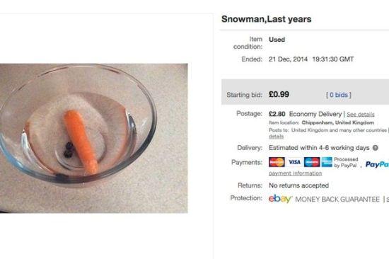 雪人融化后残骸网上拍卖
