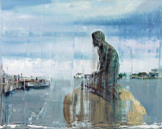 日常影像-小美人鱼铜像 布面油画 80*100cm 2013年