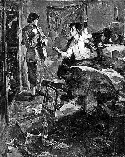 侯一民《青年地下工作者》 此画是侯一民在马克西莫夫油画训练班的结业创作,又名《地下印刷所》,描绘的是解放前夕进步青年秘密印刷党的宣传刊物迎接解放,这也是画家本人亲身经历的真实事件。画面里两位男青年即以他本人和画家周思聪为模特。
