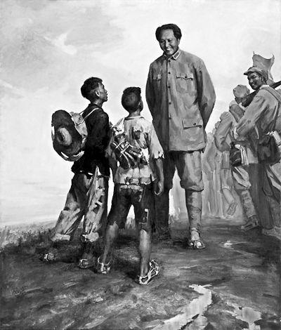 蔡亮《贫农的儿子》创作于1964年的这件作品,是一幅经典的革命历史题材油画,入选了当时庆祝国庆15周年的全国美展。画面中毛主席和两个孩子之间构图关系的角度,还是蔡亮在农村社教时,看到两名男孩在黄昏时分找老支书要灯油而偶然找到的构图关系。