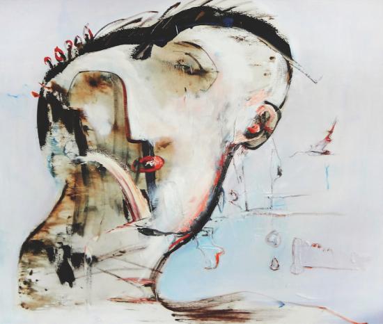 戴发夹的女人 150x180cm 布面油画 2012(刘水石56届威尼斯参展作品)
