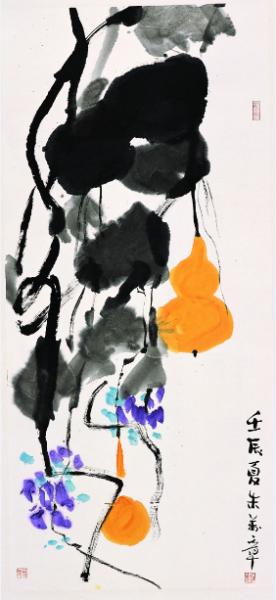 朱万章《紫藤葫芦》,纸本设色,116.5×53.5厘米,2012年