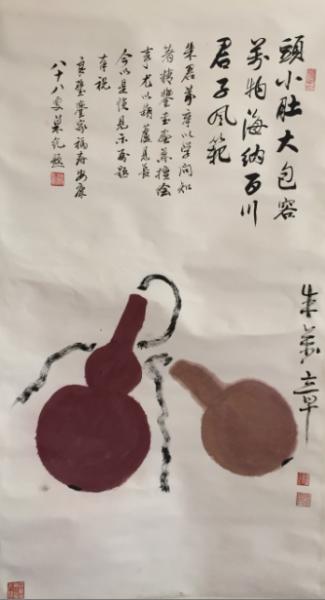 朱万章《双福图》,纸本设色,89x48厘米,2013年