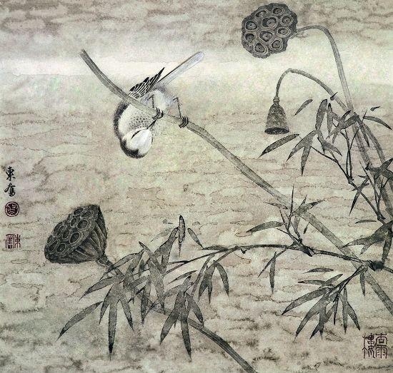 吴东奋水墨工笔花鸟画作品